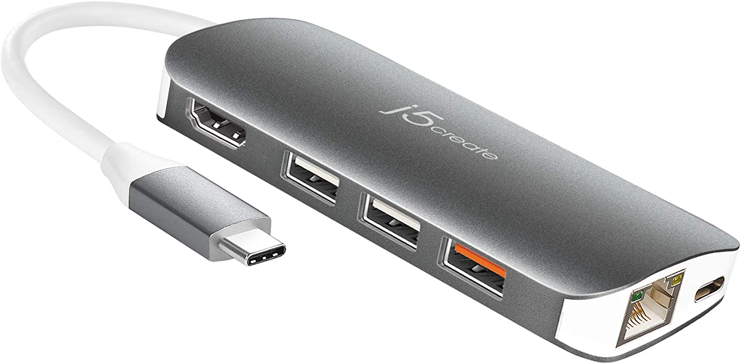 j5create USB-C 9-in-1 Multi Adapter Multi Adapter HDMI/Ethernet/USB 3.1, SD and MicroSD/PD 3.0   4K HDMI for MacBook   ChromeBook  USB-C Devices