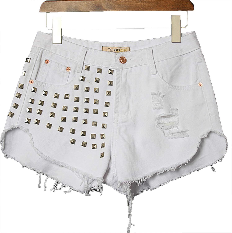 Women's Jeans Shorts Blue Ripped Rivets Denim high Waist hot Pants Summer Sexy Loose 4 Colour