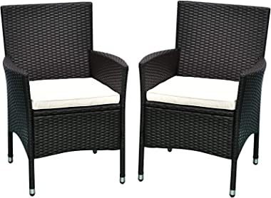 Outsunny 2 PCs Patio PE Rattan Wicker Dining Chairs Outdoor Armrest Chair Furniture Sets for Backyard, Poolside, Garden Cushi