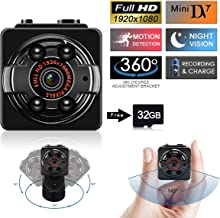 SUSZAVSS Mini Camera Hidden Spy Camera, Protable Video Recorder with 32GB SD Card, HD 1080P DVR Night Vision Motion Detection Nanny Cam for Baby/Pet Monitoring/Home Office Car Security