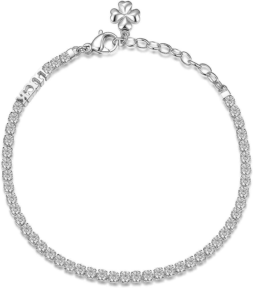 Brosway desideri trendy bracciale per donna in acciaio con scritta luck in quadrifoglio e zirconi bianchi. BEI016