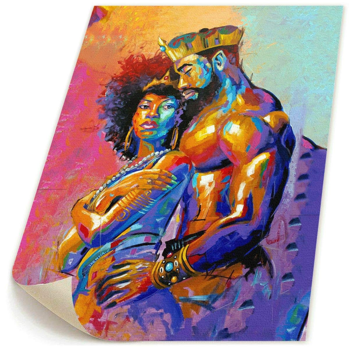 Okoart 18 X22 Canvas Wall Art Prints African Queen And King Crown Natural Hair Picture Paintings Contemporary Decorative Giclee Artwork Wall Decor No Frame Buy Online In Kuwait At Desertcart Com Kw Productid 106906361