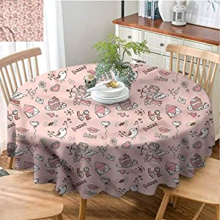 Angel Indoor Round Tablecloth Kitchen Dinning Tabletop Decoration Doodle Cupid Cake Birds Picnic Round Tablecloth Indoor or Outdoor Parties - 66