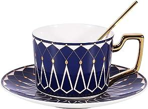 فانكوار 198.4 جرام نمط الماس الأزرق فنجان القهوة والشاي القدح مع ملعقة ذهبية، كأس حفل الشاي