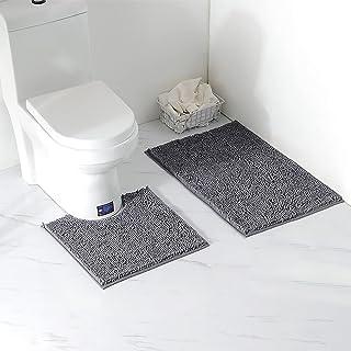 Arkmiido Ensemble Tapis de Bain/Carpettes de Toilette 2 Pièces, Tapis WC Antidérapant Doux Absorbant Epais en Chenille pou...
