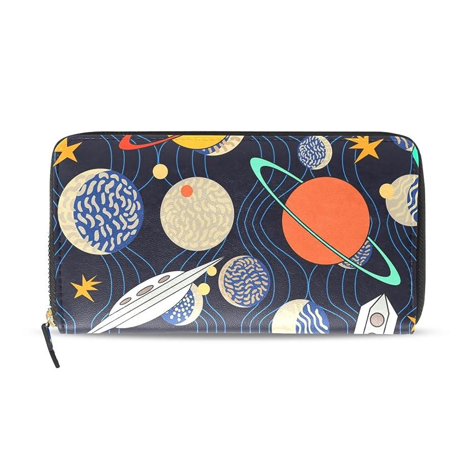 確認する天文学考案するマキク(MAKIKU) 長財布 レディース 大容量 革 レザー 宇宙柄 アニメ 星柄 ラウンドファスナー おしゃれ カード12枚収納 プレゼント対応