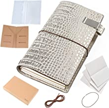 Refillable Durable Leather Notebook Cover - with Inner Pocket Card Slots, Moterm 8.7 x 4.9 Inch Croc Print Leather Bound Journal Travelers Notebook (Standard Size, Silver)