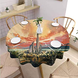 GROGON Restaurant Round Tablecloth Cityscape Modern City by Harbor with Sailing Yacht Skyscrapers Artsy Painting Style Print Multicolor Printed Tablecloth Diameter 54