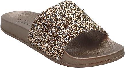 f5742768586fe0 Blue Women s DIDI Sequin Glitter Rhinestone Strap Slide Slip on with Arch  Suppport Summer Sandals