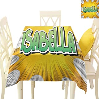 Isabella Square Table Cover, American Birth Name on Retro Style Fun Cartoon Backdrop Poster Design Fabric Table Cloth for Dining Room Camping, 60