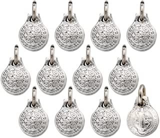Catholica Shop Catholic Religious Wear Saint Benedict Stamped Silver Tone Mini Round Medal Pendant - Lot of 12 - Made in Italy