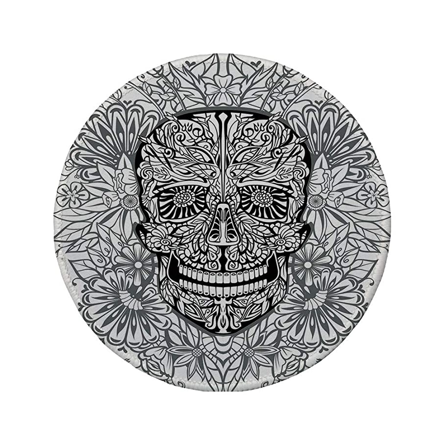 Non-Slip Rubber Round Mouse Pad,Skull Decor,Gothic Smiling Skeleton Head with Flowers Day of The Dead Mexican Traditional,Black White,11.8