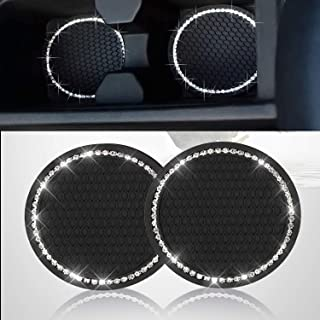 2PCS Bling Car Cup Coaster, Bling Car Accessories 2.75 inch,Rhinestone Anti Slip Insert Coaster, Suitable for Most Car Interior, Car Bling for Women,Party,Birthday (Black)