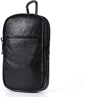 LDUNDUN-BAG, 2019 First Layer Cowhide, Double-Layer Main Bag, Hanging Neck Bag, Mobile Phone Bag 2018 New Men's Pockets (Color : Black, Size : S)
