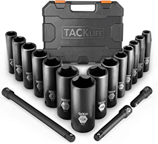 Drive Impact Socket Set, Tacklife 17pcs 1/2-inch Drive Deep Impact Socket Set, 6 Point, 3/8-1-1/4 inch, 14pcs Inch Sockets with 3pcs 1/2-Inch Drive Impact Extension Bar Set - HIS2A
