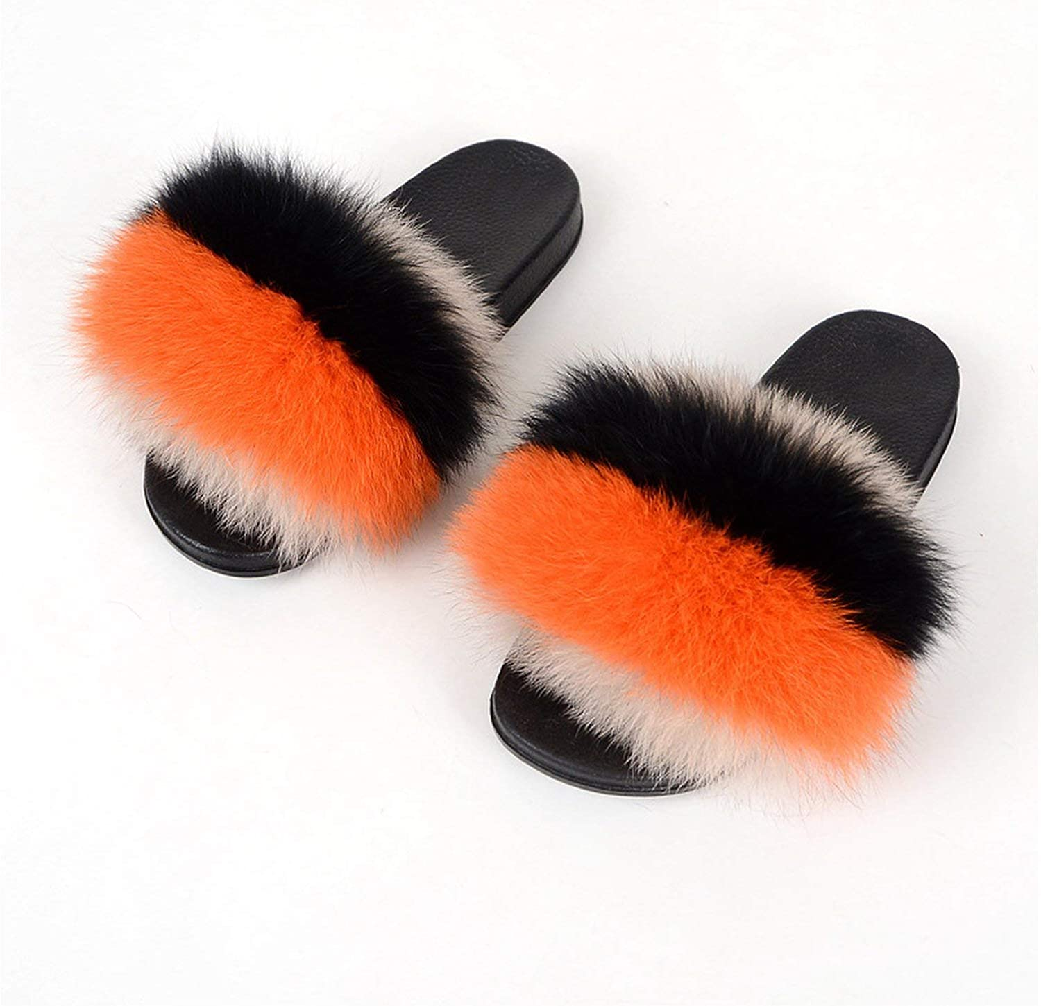 Leifun Fox Fur Slippers Soft Fur Slides shoes Slippers with Fur Flip Flops Mixed color Furry Slippers