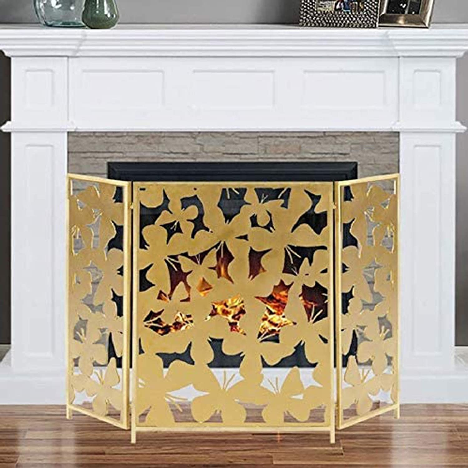3 Special price for a limited time Panel Folding Fireplace Screen Butterfly Pattern Modern with Super sale period limited