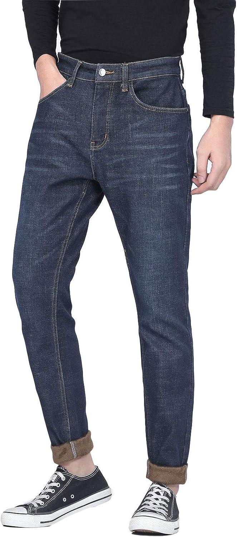 PlaidPlain Men's online shopping Flannel Max 88% OFF Lined Slim Jeans T Fit