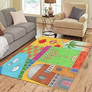 Pinbeam Area Rug Colorful Rosh Hashanah Greeting Whimsy of Jewish New Home Decor Floor Rug 5' x 7' Carpet