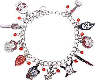 Athena Brand Horror Scary Theme It Freddy Chucky Scream Saw Jason Comics Movie Cartoon Logo Series Charm Jewelry Bracelet w/Gift Box