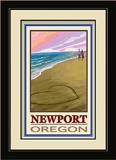 "Northwest Art Mall JK-3715 FGDM LOC Newport Oregon Love on Coast Framed Wall Art by Artist Joanne Kollman, 16 x 22"""