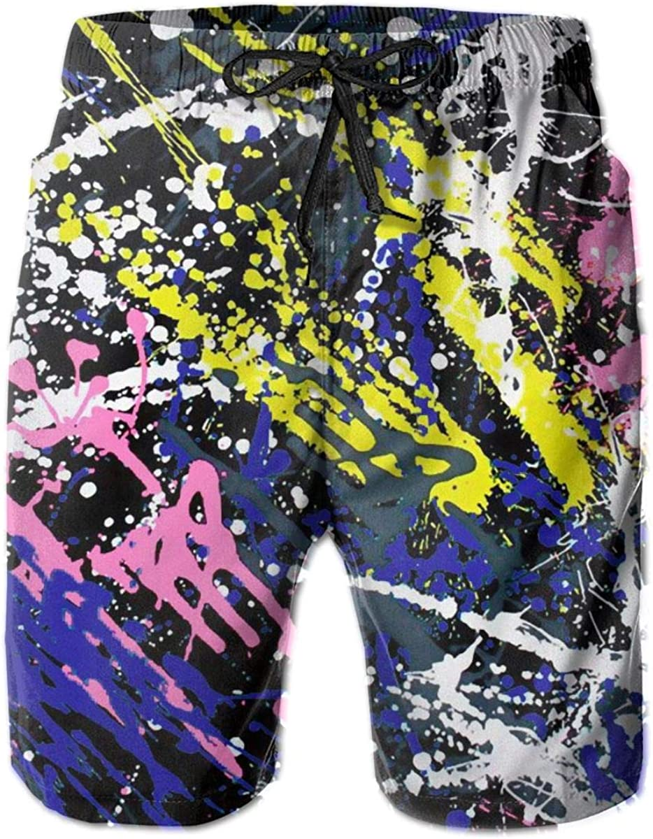 Yt92Pl@00 New Free Sales of SALE items from new works Shipping Men's 100% Polyester Colored Fas Swim Graffiti Trunks