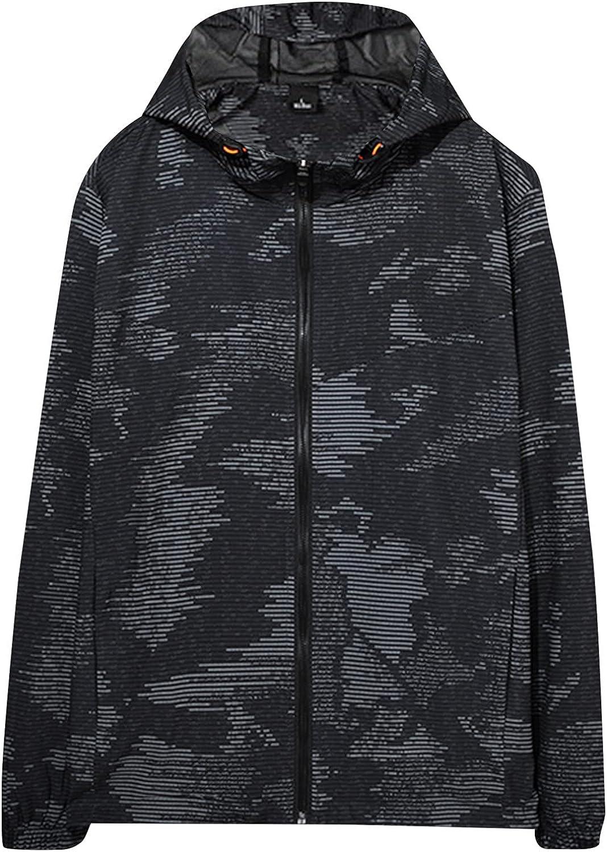 Huangse Mens Rain Jacket Waterproof with Hooded Hiking Jacket Coat Lightweight Windbreaker Rain Coat