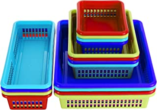 Bright Plastic Organizer Bins - 16 Pack - Colorful Storage Trays, Modular Baskets Holders for Classroom, Drawers, Shelves, Desktop, Closet, Playroom, Office, and More – 4 Bright Colors - BPA Free