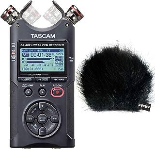 Tascam DR-40X - Grabador de audio estéreo con función de interfaz, protector contra el viento de piel Keepdrum