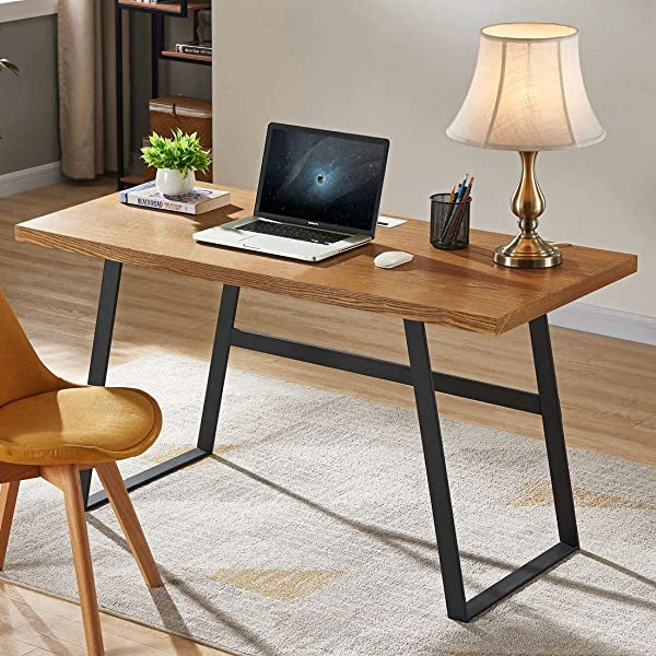 BON AUGURE Rustic Wood Computer Desk Industrial PC Writing Desk Vintage Study Table For Home Office Workstation 55 Inch Mahogany