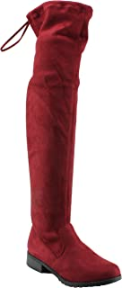 Forever Link Womens Over The Knee Thigh High Flat Boot