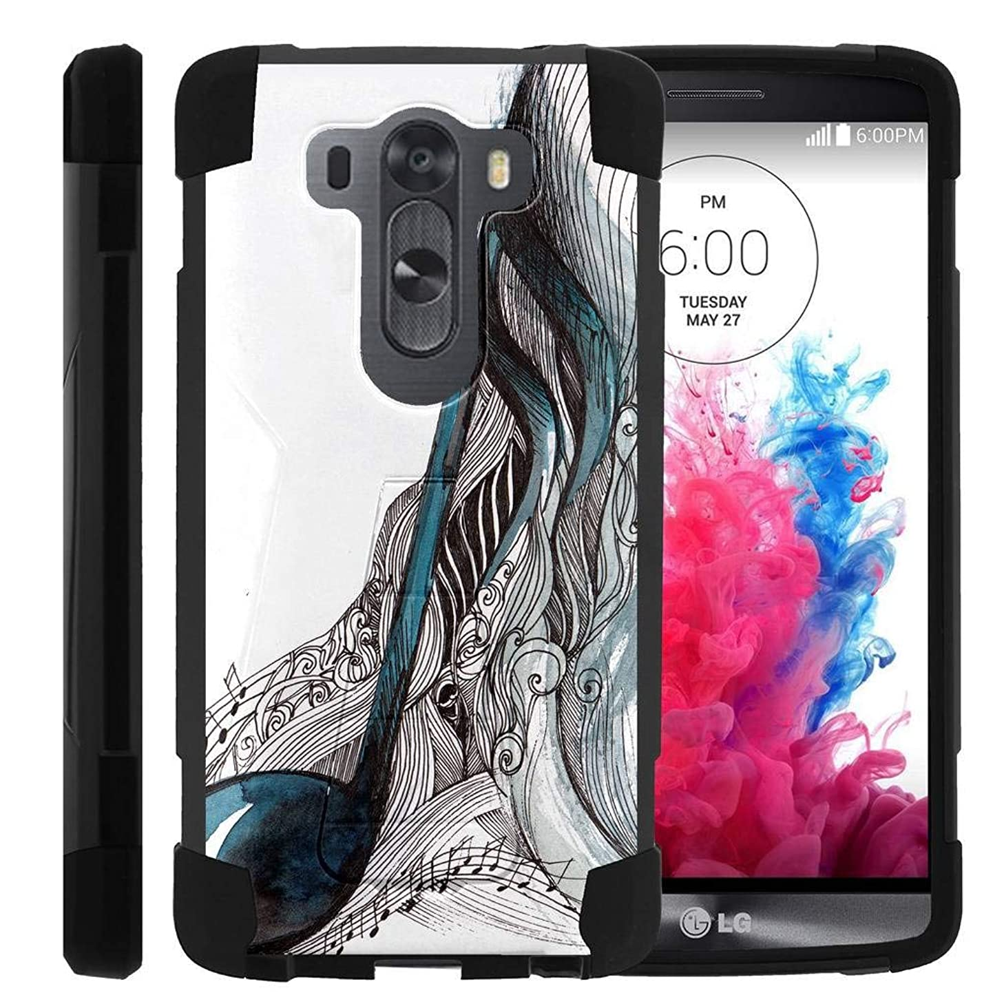 TurtleArmor | Compatible for LG V10 Case | LG G4 Pro Case [Dynamic Shell] Absorber Impact Shock Shell Cover Protector Silicone Hard Kickstand Music Design - Artistic Music Notes