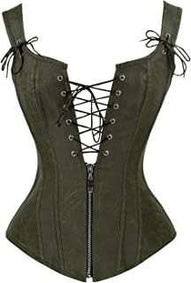 81bf3c8261 Charmian Women s Renaissance Lace Up Vintage Boned Bustier Corset with  Garters
