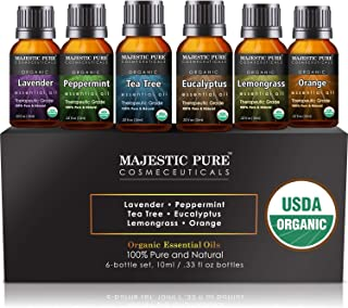 MAJESTIC PURE Aromatherapy Essential Oils Set, Organic Certified Essential Oil Set Includes Lavender, Peppermint, Tea Tree...