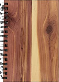 """Woodchuck - Classic Spiral Journal (6.5"""" x 4.5"""") - 88 Pages - Made in the USA - Cedar Wood - Lined Certified Recycled Paper - Unique Grain for Every Journal"""