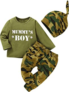 Baby Boy Girl Camouflage Long Sleeve T-Shirt Tops+Green Long Pants + Camouflage Hat 3PC Outfit Casual Outfit
