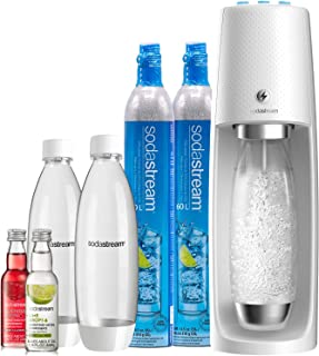 SodaStream Fizzi One Touch Sparkling Water Maker Bundle (White) with CO2, BPA free Bottles, and 0 Calorie Fruit Drops Flavors