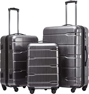 Coolife Luggage Expandable 3 Piece Sets PC+ABS Spinner Suitcase Built-In TSA lock 20 inch 24 inch 28 inch