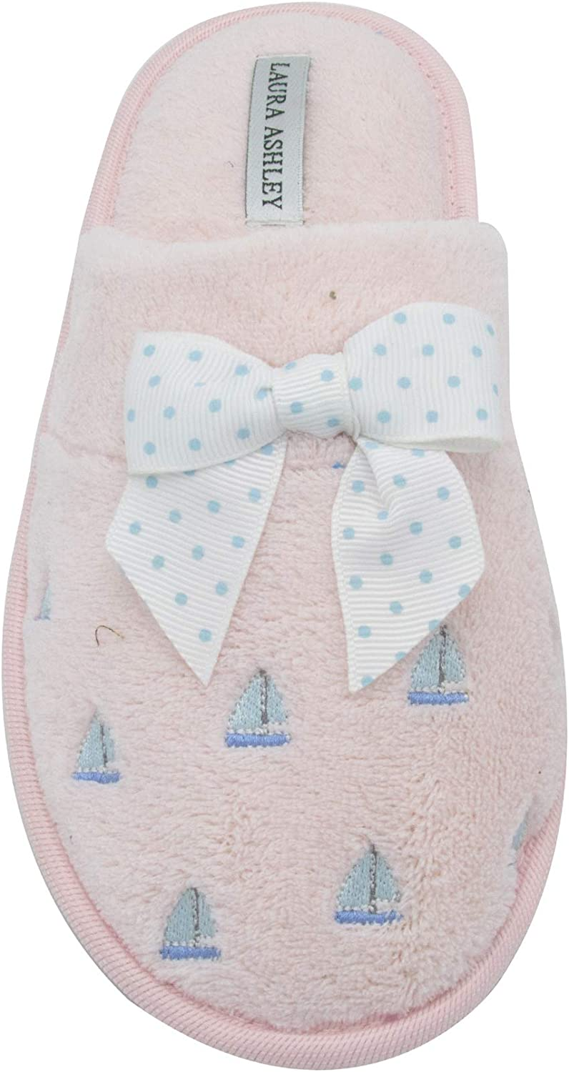 Laura Ashley Ladies Sail Boat Embroidered Soft Terry Scuff Slipper (See More colors & Sizes)