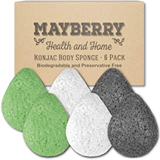 Konjac Facial Sponge (6 Pack) Individually Wrapped Pure (White), Bamboo Charcoal (Black), and Green Tea (Green) Konjac Drop Shape Sponges Offer a Gentle Cleansing Experience for Softer Skin