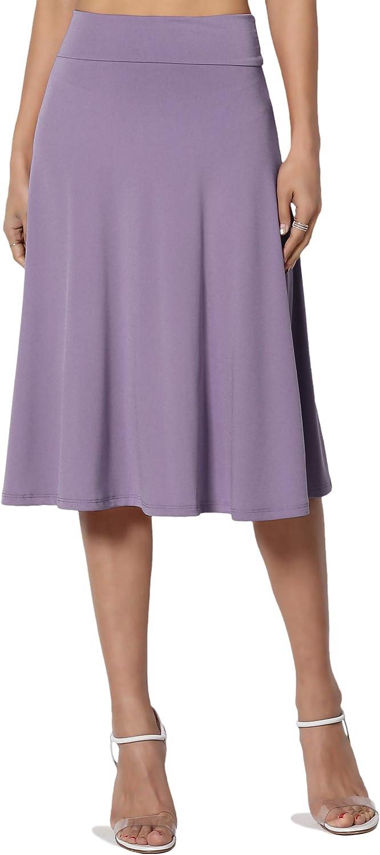 TheMogan Simple High Waist A-Line Flared Knee Length Skirt Comfy Stylish