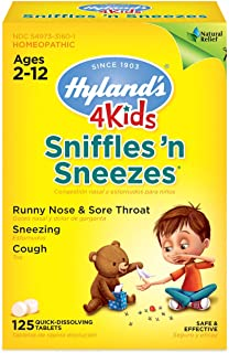 Kids Cold Medicine, Hyland's 4 Kids Sniffles n' Sneezes Tablets, Decongestant, Headache and Sinus Relief, Natural Treatment for Common Cold Symptoms, 125 Count