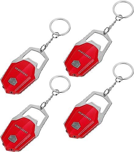 wholesale Craftsman Mini LED outlet online sale Keychain Flashlight Set, 4 Pack EDC Ultra Bright Key Ring Light with Bottle Opener & Hook, Batteries high quality Included, CMXLZAG67063 online