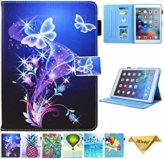 JZCreater Case for iPad 9.7 2018 2017 / iPad Air 2 / iPad Air Case - Flip Stand PU Leather Wallet Case, Auto Sleep/Wake Function Smart Cover, Purple Butterfly