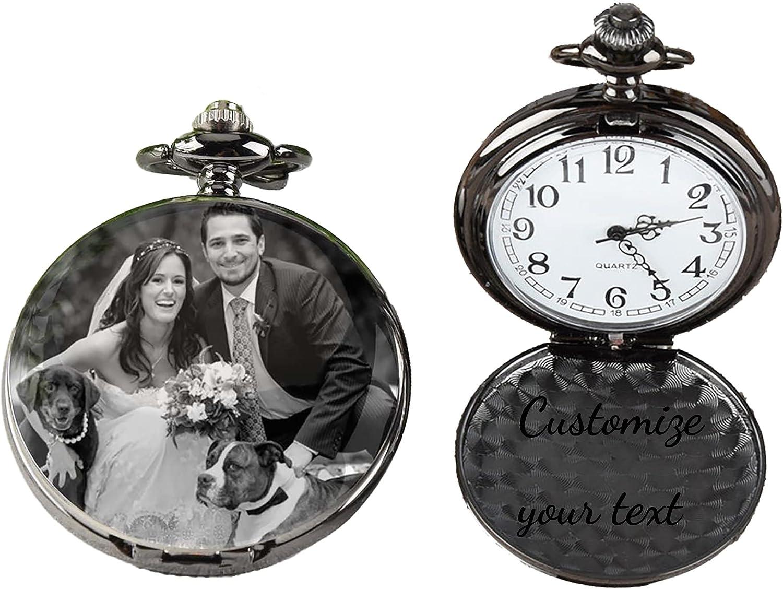 Reloj de Bolsillo con Foto Personalizado, joyería con Texto Grabado y Cadena de Regalo para Navidad, graduación, cumpleaños, día del Padre