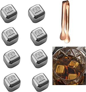 Whiskey Stones Set,8 PCS Stainless Steel Cheers Ice Cubes with 2 Pcs Tongs, Reusable Stainless Steel Chilling Rocks with Box