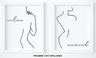 "Abstract Minimalist""Relax, Unwind"" Wall Decor - Set of 2-8""x10"" UNFRAMED Prints - Modern, Minimal, Black And White Line Art - Female Figure Silhouette - Bathroom Wall Decor"