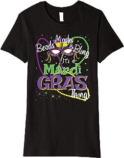 Womens Beads Masks Bling Cute Mardi Gras Tshirt for Women