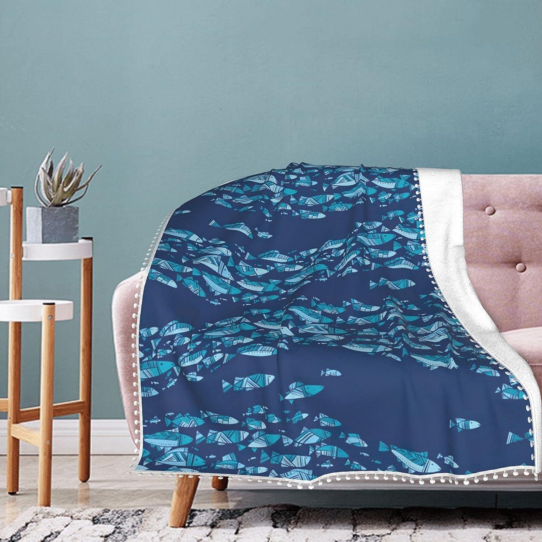Blue Fish List price School Blanket Fleece Fringe Direct stock discount with Pompom Throw