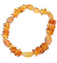 Genuine Raw Baltic Amber Bracelet for Adult on Elastic Thread - Authentic Baltic Amber Beads - 7.8 Inch - Honey Mix